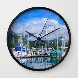 Seward Boat Harbor II, Alaska Wall Clock