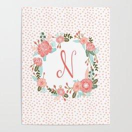 Monogram N - cute girls coral florals flower wreath, coral florals, baby girl, baby blanket Poster