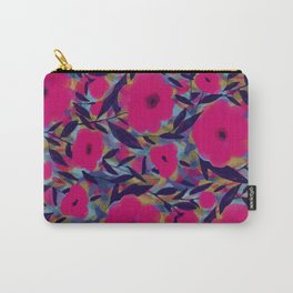 Layered Leaf Floral Fuchsia Carry-All Pouch
