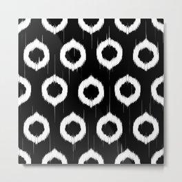 Black and white ikat circles Metal Print