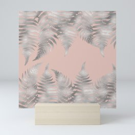 Silver fern leaves on rosegold background - abstract pattern Mini Art Print