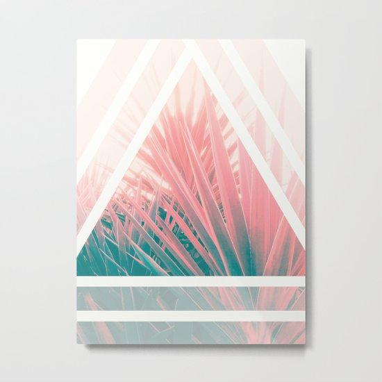 Pastel Palms into Triangle Metal Print