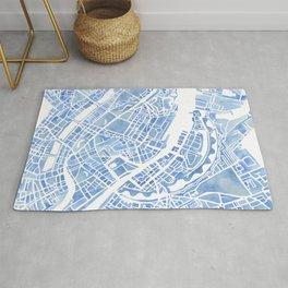 Copenhagen Denmark watercolor city map Rug