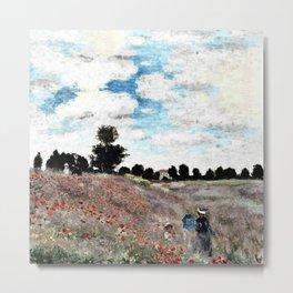 Claude Monet's Poppy Fields Metal Print