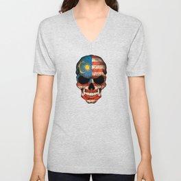 Dark Skull with Flag of Malaysia Unisex V-Neck