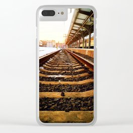 Sunset Tracks Clear iPhone Case