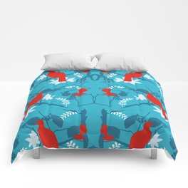 NZ Native Red Kereru (Wood Pigeon) and Fantail on Blue Comforters