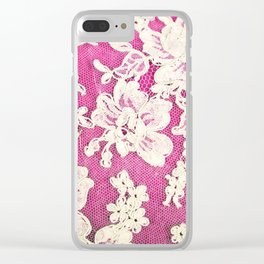 pink lace-photograph of vintage lace Clear iPhone Case