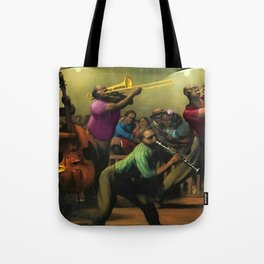 'Jazz on a High Night' African American Harlem Masterpiece by Robert Riggs Tote Bag