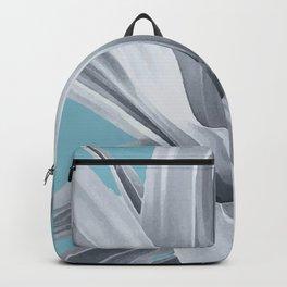 Grey Leaves. Tropical blue. Backpack