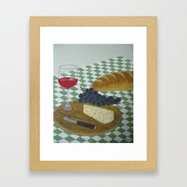Bread Wine and Cheese Framed Art Print