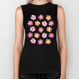 CANDY COLORED HIBISCUS on NAVY Biker Tank