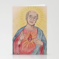 larry david Stationery Cards featuring Larry David Our Saviour by Laura Francis Design