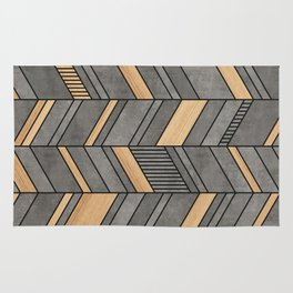 Abstract Chevron Pattern - Concrete and Wood Rug