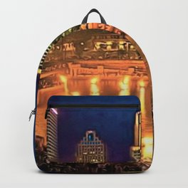 Summer Waterfire Downtown Providence, Rhode Island landscape painting Backpack