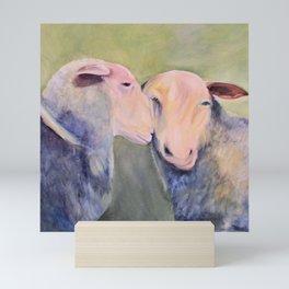 Two Sheep Animal Art Oil Painting Mini Art Print