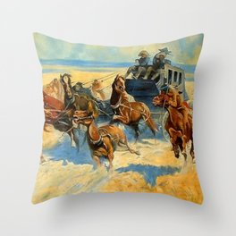 "Frederic Remington Western Art ""Downing the Nigh Leader"" Throw Pillow"