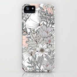 Farmhouse Chic Blush Pink and Grey Floral Pattern iPhone Case