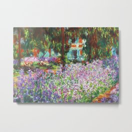Claude Monet, The Artist's Garden at Giverny 1900 Artwork for Wall Art, Prints, Posters, Tshirts, Men, Women, Kids Metal Print