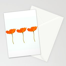 Three Orange Poppy Flowers White Background #decor #society6 #buyart Stationery Cards