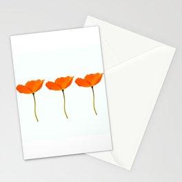 Three Orange Poppy Flowers White Background  Stationery Cards