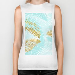 Aloha - Tropical Palm Leaves and Gold Metal Foil Leaf Garden Biker Tank