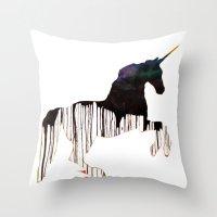 unicorns Throw Pillows featuring Unicorns by Unicorn Alphabet