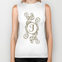 monogram Biker Tanks featuring Monogram J by Britta Glodde