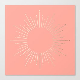 Simply Sunburst in White Gold Sands on Salmon Pink Canvas Print