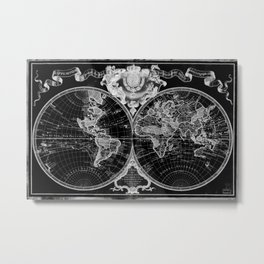Black and White World Map (1720) Inverse Metal Print