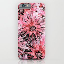 Pink with black and white dahlias iPhone Case