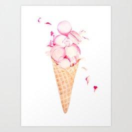 Pink Macaroons Rose Ice Cream Fashion Stylish Minimalism Food Art Print