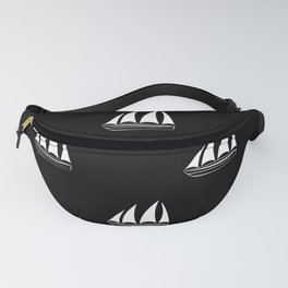 White Sailboat Pattern on black background Fanny Pack