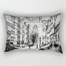 GOTHIC STREET OF POLISH CITY GDANSK IN GREY TONES Rectangular Pillow