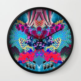 Psicodelic tropical kaleidoscope Wall Clock