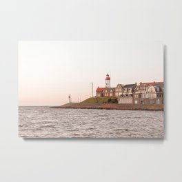 Lighthouse At Sunset Sea View Photo | Coast Of Dutch Village Urk Art Print | Europe Travel Photography Metal Print