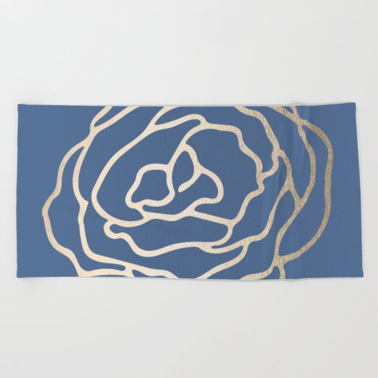 Flower in White Gold Sands on Aegean Blue Beach Towel