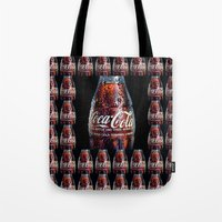 coca cola Tote Bags featuring The Real... by LesImagesdeJon