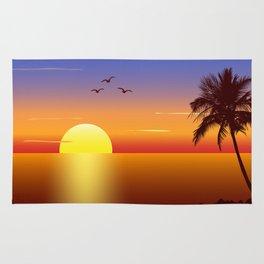 Sunset at tropical beach Rug