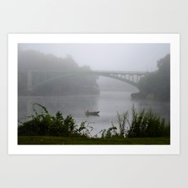 Foggy Fishing Day on the Delaware River Art Print