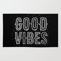 good vibes Area & Throw Rugs featuring Good Vibes by Word Quirk