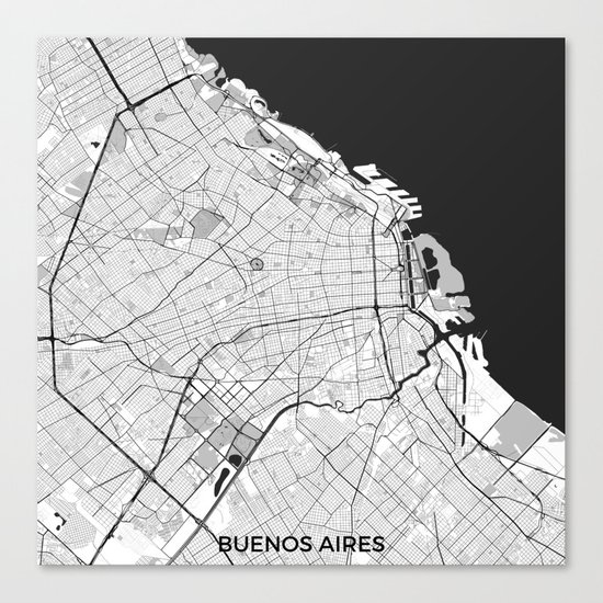 Buenos Aires City Map Gray Canvas Print