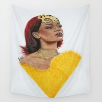 rihanna Wall Tapestries featuring Rihanna in yellow by Goolpia