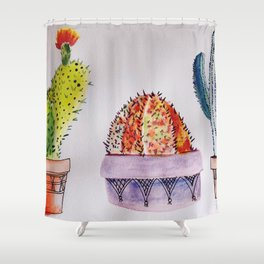 Watercolor Cactus Trio 2 Shower Curtain