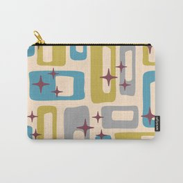 Retro Mid Century Modern Abstract Pattern 924 Turquoise Gray Olive Carry-All Pouch