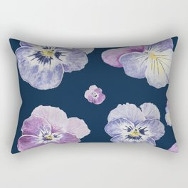 Watercolor Pansy Pattern (Navy Background) Rectangular Pillow