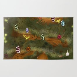 Christmas Holiday Tree With Long Haired Girl   Lillee Jean Rug