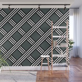 PPG Night Watch, Black & White Diagonal Stripes Lattice Pattern Wall Mural