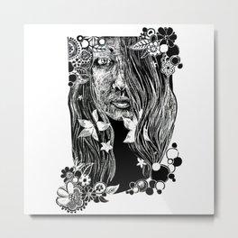 Black and White Flower Girl Line Cut Metal Print