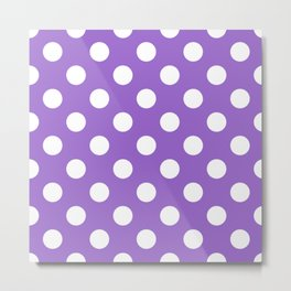Amethyst - violet - White Polka Dots - Pois Pattern Metal Print
